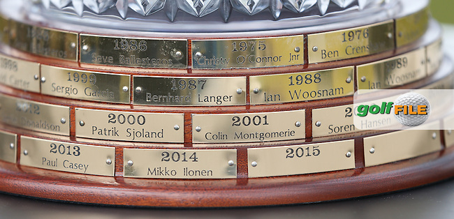 Close up of the brass plates on the Trophy during Round Three of the 2015 Dubai Duty Free Irish Open Hosted by The Rory Foundation at Royal County Down Golf Club, Newcastle County Down, Northern Ireland. 30/05/2015. Picture David Lloyd | www.golffile.ie