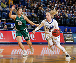 SIOUX FALLS, SD - NOVEMBER 29: Madison Guebert #11 from South Dakota State drives past Hailey Oskey #0 from Wisconsin Green Bay during their game Thursday night at Frost Arena in Brookings. (Photo by Dave Eggen/Inertia)