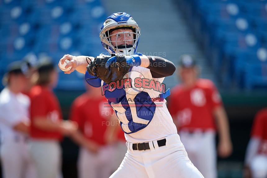 Thatcher Hurd (20) of Acalanes High School in Lafayette, CA during the Perfect Game National Showcase at Hoover Metropolitan Stadium on June 19, 2020 in Hoover, Alabama. (Mike Janes/Four Seam Images)