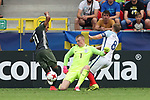 England's Jordan Pickford saves from Germany's Serge Gnabry during the UEFA Under 21 Semi Final at the Stadion Miejski Tychy in Tychy. Picture date 27th June 2017. Picture credit should read: David Klein/Sportimage