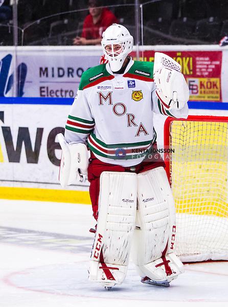 S&ouml;dert&auml;lje 2013-09-14 Ishockey Hockeyallsvenskan S&ouml;dert&auml;lje SK - Mora IK :  <br /> Mora m&aring;lvakt 1 Marcus H&ouml;gberg jublar efter att ha gjort den avg&ouml;rande r&auml;ddningen i straffl&auml;ggningen mot S&ouml;dert&auml;lje<br /> (Foto: Kenta J&ouml;nsson) Nyckelord:  jubel gl&auml;dje lycka glad happy