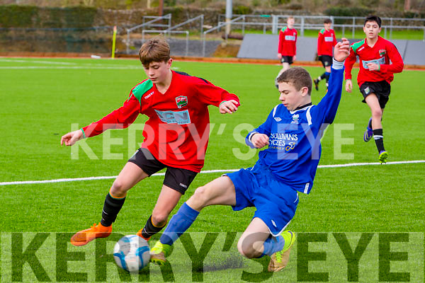 In Action Camp's Jack Farrell and Athletic's Ian Prendergast in U16 Division 1 Camp Juniors fc v Killarney Athletics at the Mounthawk Park All Weather pitch on Saturday