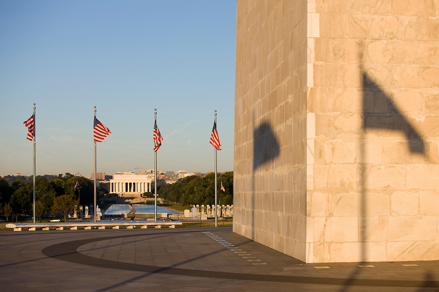 The Washington Monument in Washington is a United States Presidential Memorial constructed to commemorate the first president, George Washington. The monument, made of marble, granite, and sandstone, is both the world's tallest stone structure and the world's tallest obelisk, standing 555 feet.  It is also the tallest structure in Washington D.C...Photo by Brooks Kraft/Corbis.....................