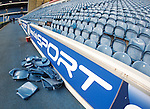 Broken seats at the Broomloan end of Ibrox after the Old Firm game