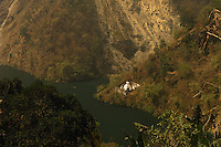 View from a hilltop overseeing a monastery along Teesta river