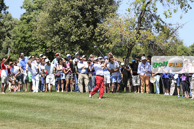 Miguel Angel Jimenez (ESP) on the 16th fairway during Round 4 of the Open de Espana  in Club de Golf el Prat, Barcelona on Sunday 17th May 2015.<br /> Picture:  Thos Caffrey / www.golffile.ie