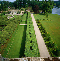 Aerial view from the roof of Longleat over the manicured  garden towards the orangery