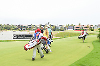Kazuya OSAWA (JPN), Daniel HILLIER (NZL), and Yuvraj SANDHU (IND) head down 17 during Rd 3 of the Asia-Pacific Amateur Championship, Sentosa Golf Club, Singapore. 10/6/2018.<br /> Picture: Golffile | Ken Murray<br /> <br /> <br /> All photo usage must carry mandatory copyright credit (© Golffile | Ken Murray)