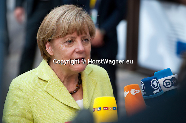 Brussels, Belgium -- July 16, 2014 -- European Council, EU-summit, meeting of Heads of State / Government to decide on the agenda and the composition of the new EU-Commission; here, arrival of Angela MERKEL, Federal Chancellor of Germany -- Photo: © HorstWagner.eu
