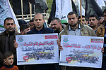 Palestinian Hamas supporters take part in a rally to celebrate the West Bank shooting attack, in Jabalia in the northern Gaza Strip March 17, 2019. One Israeli was killed and another two Israelis were critically injured after a Palestinian allegedly carried out a stabbing and shooting attack at the junction of the illegal Israeli settlement of Ariel. Photo by Ashraf Amra