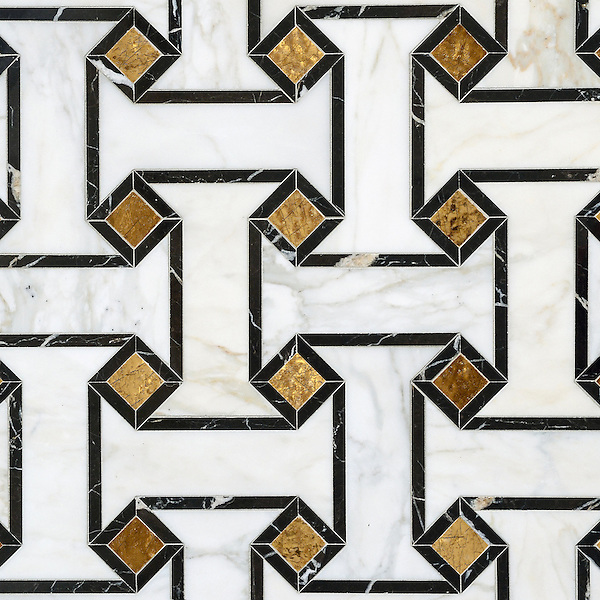 Leone, a waterjet mosaic shown in 24K Gold Glass, honed Calacatta and polished Saint Laurent, is part of the Aurora™ Collection by Sara Baldwin for New Ravenna.