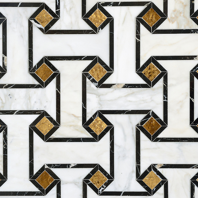 Leone, a waterjet mosaic shown in 24K Gold Glass, honed Calacatta and polished Saint Laurent, is part of the Aurora® collection by Sara Baldwin for New Ravenna.