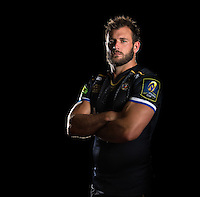 Luke Arscott poses for a portrait in the 2015/16 European kit during a Bath Rugby photocall on September 8, 2015 at Farleigh House in Bath, England. Photo by: Patrick Khachfe / Onside Images
