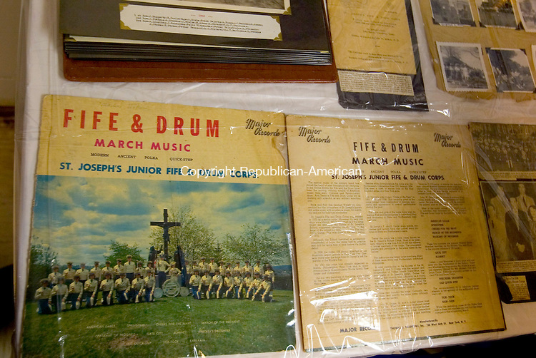 WATERBURY, CT- 19 OCTOBER 2008 --101908JS17--An old album of the music of fife and drum march music performed by the St. Joseph's Junior fife nad Drum Corps, was one of the many items on display during a reunion of the St. Joseph's Church Fife and Drum Corps Sunday at the St. Joseph Parish Center. The gathering followed a memorial Mass, offered in memory of music instructors Joe Stankus, Peter &quot;Spitters&quot; Staslunas and Ed Stokes, at St. Joseph's Church in Waterbury.   <br /> Jim Shannon / Republican-American