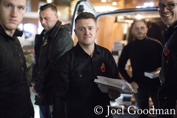 "© Joel Goodman - 07973 332324 . 03/11/2017 . Manchester , UK . Fans of TOMMY ROBINSON (real name Stephen Yaxley-Lennon ) at the launch of the former EDL leader's book "" Mohammed's Koran "" at Castlefield Bowl . Originally planned as a ticket-only event at Bowlers Exhibition Centre , the launch was moved at short notice to a public location in the city . Photo credit : Joel Goodman"