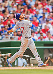 15 June 2016: Chicago Cubs left fielder Kris Bryant in action against the Washington Nationals at Nationals Park in Washington, DC. The Cubs fell to the Nationals 5-4 in 12 innings, giving up the rubber match of their 3-game series. Mandatory Credit: Ed Wolfstein Photo *** RAW (NEF) Image File Available ***