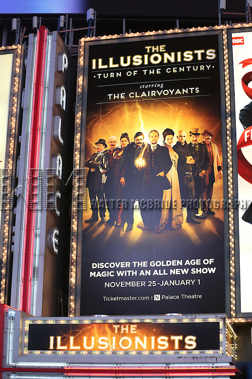 Theatre Marquee unveiling for  'The Illusionists - Turn of the Century' at the Palace Theatre Theatre on October 24, 2016 in New York City.