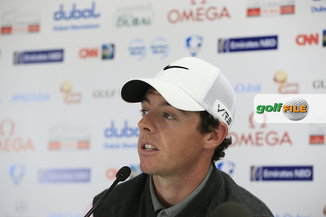 Rory McIlroy (NIR) press conference during Wednesday's Pro-Am of the Omega Dubai Desert Classic 2014 held at the Emirates Golf Club, Dubai. 29th January 2014.<br /> Picture: Eoin Clarke www.golffile.ie