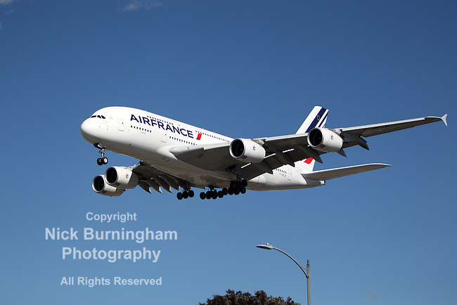 LOS ANGELES, CALIFORNIA, USA - JANUARY 28, 2013 - Airfrance Airbus A-380 lands at Los Angeles Airport on January 28, 2013. The plane is the world's largest passenger airliner and seats 525 people.