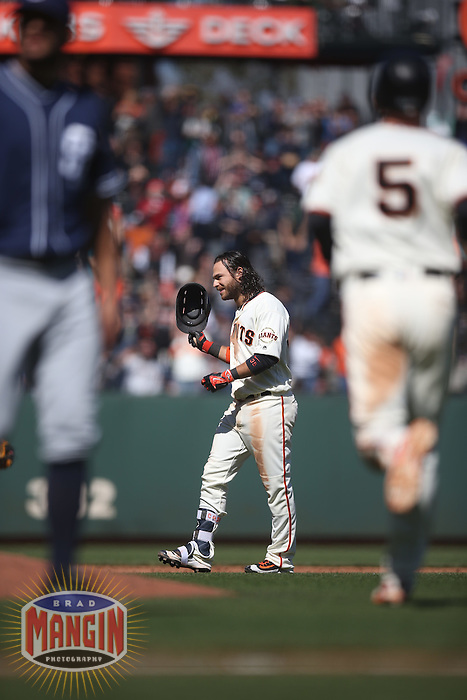 SAN FRANCISCO, CA - MAY 25:  Brandon Crawford #35 of the San Francisco Giants celebrates after driving in the game-winning run in the bottom of the 10th inning with an RBI double against the San Diego Padres during the game at AT&T Park on Wednesday, May 25, 2016 in San Francisco, California. Photo by Brad Mangin