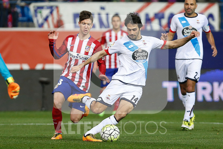 Atletico de Madrid´s Vietto and Deportivo de la Coruna´s Arribas during 2015-16 La Liga match between Atletico de Madrid and Deportivo de la Coruna at Vicente Calderon stadium in Madrid, Spain. March 12, 2016. (ALTERPHOTOS/Victor Blanco)