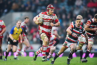 Tom Savage of Gloucester Rugby goes on the attack. Aviva Premiership match, between Leicester Tigers and Gloucester Rugby on February 11, 2017 at Welford Road in Leicester, England. Photo by: Patrick Khachfe / JMP