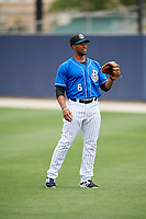 Biloxi Shuckers left fielder Victor Roache (6) warms up before a game against the Jackson Generals on April 23, 2017 at MGM Park in Biloxi, Mississippi.  Biloxi defeated Jackson 3-2.  (Mike Janes/Four Seam Images)