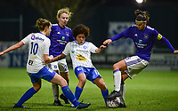 20180126 - OOSTAKKER , BELGIUM : Anderlecht's Laura De Neve (r) , Anderlecht's Charlotte Tison (20) , Gent's Chloe Vande Velde (10) and Gent's Kassandra Ndoutou Eboa Missipo (12) pictured in a duel during the quarter final of Belgian cup 2018 , a womensoccer game between KAA Gent Ladies and RSC Anderlecht , at the PGB stadion in Oostakker , friday 27 th January 2018 . PHOTO SPORTPIX.BE | DAVID CATRY