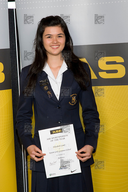 Girls Athletics winner Elizabeth Lamb from Epsom Girls Grammar School. ASB College Sport Young Sportperson of the Year Awards 2008 held at Eden Park, Auckland, on Thursday November 13th, 2008.