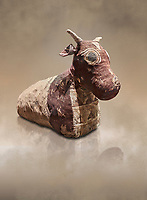Ancient Egyptian pseudo mummy of a bull, painted linen, Late Period (722-332 BC. Egyptian Museum, Turin. <br /> <br /> The pseudo mummy contains only part of a bulls remains the missing parts being replaced with vegetable matter