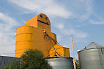 Orange metal grain elevator