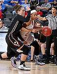 SIOUX FALLS, SD - MARCH 9: Raeshel Contreras #23 of USD dribbles around defender Kelsi Byrd #3 of IUPUI in the first half of their semi-final round Summit League Championship Tournament game Monday afternoon at the Denny Sanford Premier Center in Sioux Falls, SD. (Photo by Dave Eggen/Inertia)(Photo by Dave Eggen/Inertia)
