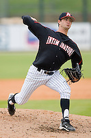 Relief pitcher Ryan Buch #9 of the Kannapolis Intimidators in action against the Lexington Legends at Fieldcrest Cannon Stadium April 14, 2010, in Kannapolis, North Carolina.  Photo by Brian Westerholt / Four Seam Images