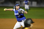 CHAPEL HILL, NC - FEBRUARY 24: Hampton's Allyson Babinsack throws to first. The Hampton University Pirates played the Towson University Tigers on February, 24, 2017, at Anderson Softball Stadium in Chapel Hill, NC in a Division I College Softball match. Towson won 17-2 in a five inning run-rule game.