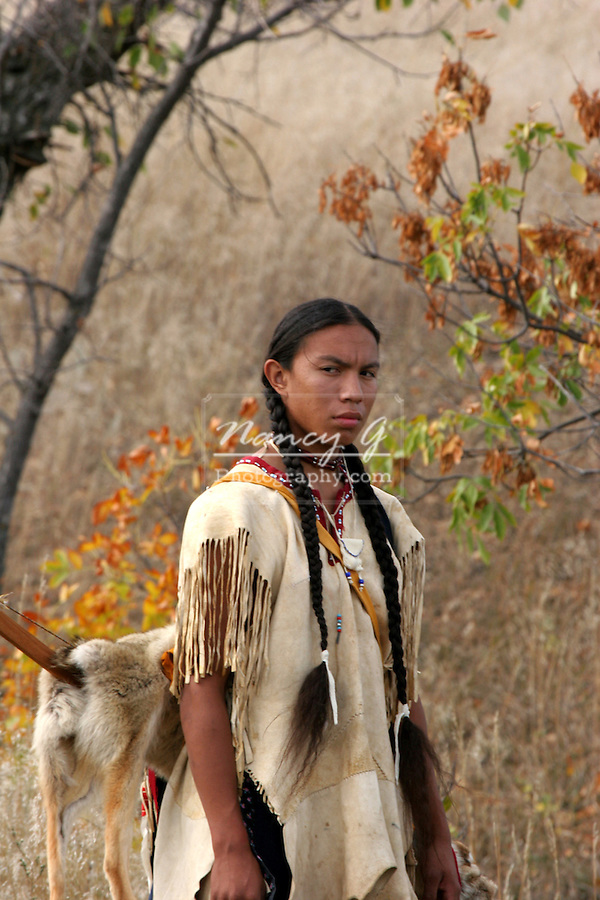 A Native American Indian man in the prairie of South Dakota