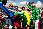 © Joel Goodman - 07973 332324. 05/08/2017 . Macclesfield , UK . Music fans dressed as band Bucks Fizz enjoying summer sunshine at the Rewind Festival , celebrating 1980s music and culture , at Capesthorne Hall in Siddington . Photo credit : Joel Goodman