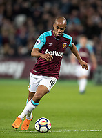 Joao Mario of West Ham United during the Premier League match between West Ham United and Stoke City at the Olympic Park, London, England on 16 April 2018. Photo by Andy Rowland.