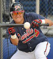 June 18, 2008: Catcher Jesus Sucre (16) of the Danville Braves, rookie Appalachian League affiliate of the Atlanta Braves, prior to a game against the Burlington Royals at Dan Daniel Memorial Park in Danville, Va. Photo by:  Tom Priddy/Four Seam Images