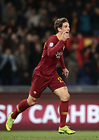 Football, Serie A: AS Roma - US Sassuolo, Olympic stadium, Rome, December 26, 2018. <br /> Roma's Nicolò Zaniolo celebrates after scoring during the Italian Serie A football match between Roma and Sassuolo at Rome's Olympic stadium, on December 26, 2018.<br /> UPDATE IMAGES PRESS/Isabella Bonotto