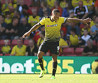 Troy Deeney of Watford gestures   during the Barclays Premier League match Watford and Swansea   played at Vicarage Road Stadium , Watford