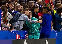 LE HAVRE,  - JUNE 20: Alyssa Naeher #1 takes a selfie with a fan during a game between Sweden and USWNT at Stade Oceane on June 20, 2019 in Le Havre, France.
