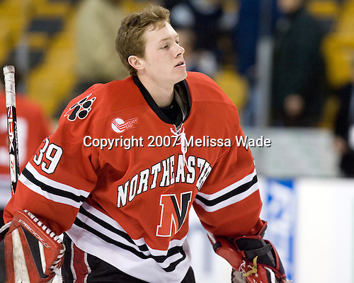 Brad Thiessen (NU - 39) - The Northeastern University Huskies defeated the Harvard University Crimson 3-1 in the Beanpot consolation game on Monday, February 12, 2007, at TD Banknorth Garden in Boston, Massachusetts.