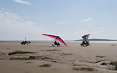 Microlights on the sand, Arnside, Lancashire, UK.