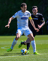 Angel Berlanga in action during the ISPS Handa Premiership football Charity Cup match between Team Wellington and Auckland City FC at David Farrington Park in Wellington, New Zealand on Sunday, 15 October 2017. Photo: Dave Lintott / lintottphoto.co.nz