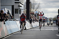 Pim Ligthart (NLD/Lotto-Soudal) is happy for his teammate Jens Debusschere to win the race<br /> <br /> 71st Dwars door Vlaanderen (1.HC)