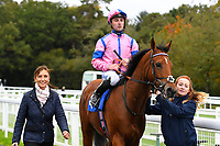 N over J ridden by Adam Beschizza and trained by William Knight is led into the winners enclosure after winning The Bathwick Car & Van Hire Novice Auction Stakes  during Bathwick Tyres Reduced Admission Race Day at Salisbury Racecourse on 9th October 2017