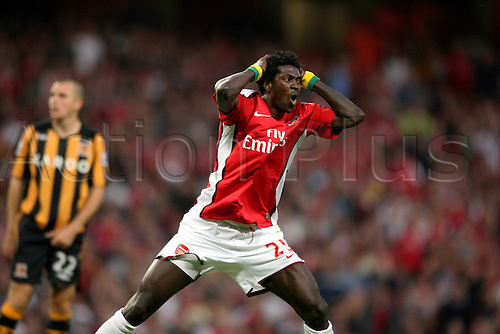 27 September 2008: Arsenal striker Emmanuel Adebayor shows his frustration during the Premier League game between Arsenal and Hull City, played at The Emirates Stadium. Hull won the game 2-1 Photo: Action Plus..080927 soccer football player