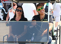 May 31, 2013; Englishtown, NJ, USA: NHRA funny car driver Alexis DeJoria (left) during qualifying for the Summer Nationals at Raceway Park. Mandatory Credit: Mark J. Rebilas-