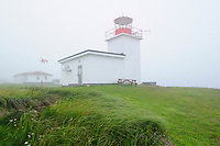 Grand Passage Lighthouse in fog<br /> Brier Island<br /> Nova Scotia<br /> Canada