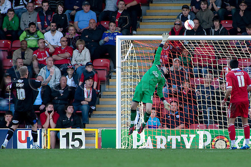 15.10.2011, London, England. Lee Butcher Orient's goalkeeper ? makes a save during the NPower league one football match between Leyton Orient and Bury played at the Matchroom Stadium, Brisbane Road, London. Mandatory credit: ActionPlus